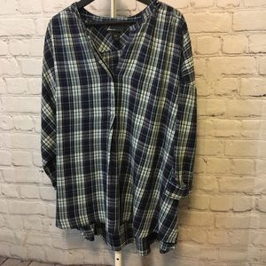 Blue Plaid Flannel Pullover